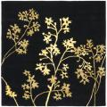 Handmade Soho Autumn Black New Zealand Wool Rug (6' Square)