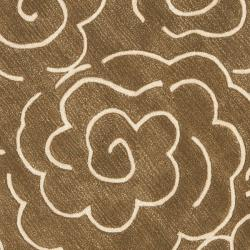 Handmade Soho Roses Brown New Zealand Wool Rug (6' Round)