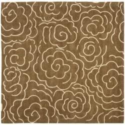 Handmade Soho Roses Brown New Zealand Wool Rug (6' Square)