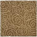 Handmade Soho Roses Brown New Zealand Wool Rug (6' Square)