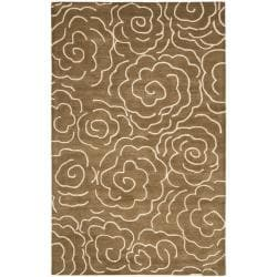 Handmade Soho Roses Brown New Zealand Wool Rug (7'6 x 9'6)