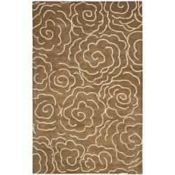 Handmade Soho Roses Brown New Zealand Wool Rug (7'6 x 9'6)