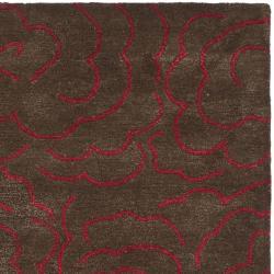 Handmade Soho Roses Chocolate New Zealand Wool Rug (3'6 x 5'6')
