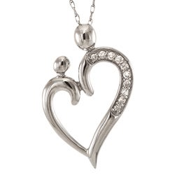 14k White Gold 1/10ct TDW Diamond Heart Necklace of mother and child (G-H, I2-I3)