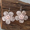 Silver Rose Quartz and Pearl Flower Drop Earrings (3-6 mm) (Thailand)