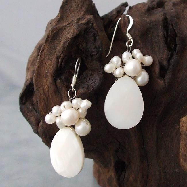 Silver White Shell/ Pearl Teardrop Drop Earrings (3-6 mm) (Thailand)