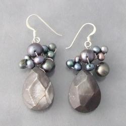Silver Black Shell/ Pearl Teardrop Drop Earrings (3-6 mm) (Thailand)