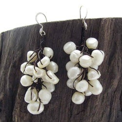 Silver and Cotton Rope Cool Cluster Pearl Earrings (3-5 mm) (Thailand)