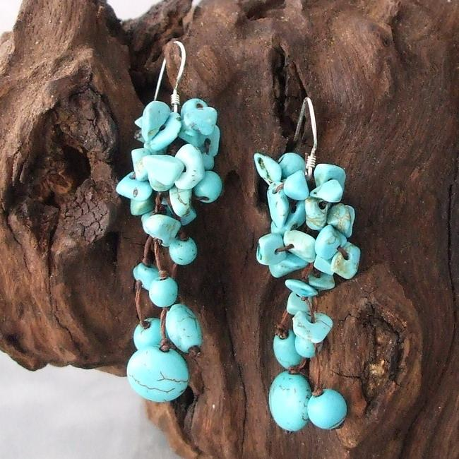 Silver and Cotton Rope Turquoise Cluster Drop Earrings (Thailand)