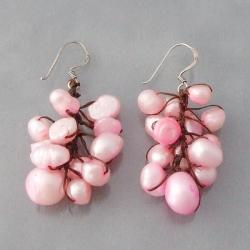 Silver/ Cotton Cool Cluster Pink Pearl Earrings (5-10 mm) (Thailand)
