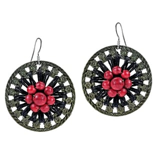 Antique Brass Round Red Coral Center Flower Earrings (Turquoise)