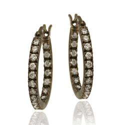Icz Stonez Brown Rhodium over Sterling Silver Cubic Zirconia Mini Hoop Earrings