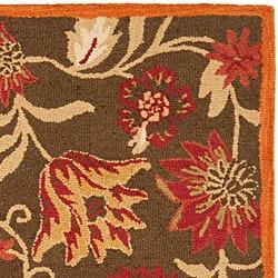 Handmade Blossom Gardens Brown Wool Rug (3' x 5')