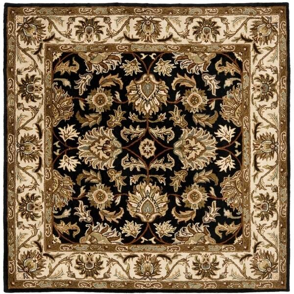 Safavieh Handmade Heritage Kashan Black/ Beige Wool Rug (8' Square)