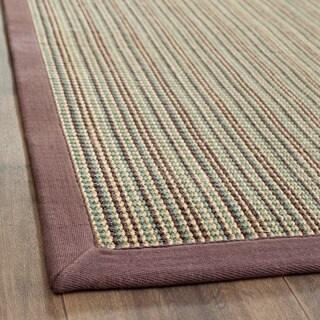 Safavieh Hand-woven Stripes Multicolor/ Purple Fine Sisal Runner (2'6 x 12')