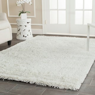 Hand-woven Bliss Off-White Shag Rug (6' x 9')