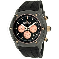 Le Chateau Men's 'Persida LC' Black Rubber Strap Watch