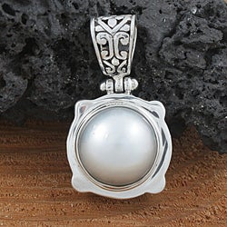 Sterling Silver and Mabe Pearl Pendant (12 mm) (Indonesia)