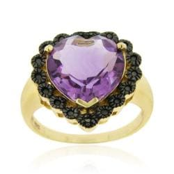 Glitzy Rocks 18k Gold over Sterling Silver Amethyst and Black Diamond Heart Ring