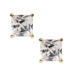 14k Yellow Gold Square Cubic Zirconia Stud Earrings