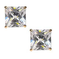 14k Yellow Gold Prong-set Square-cut Cubic Zirconia Stud Earrings