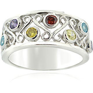 Icz Stonez Sterling Silver Multi-colored Cubic Zirconia Ring
