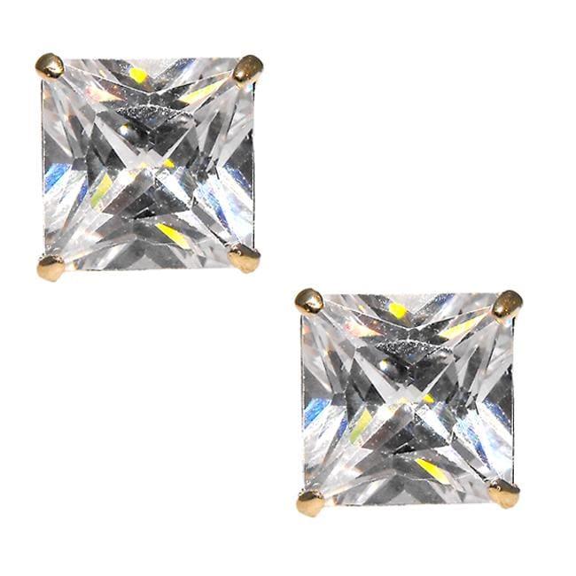 14k Yellow Gold 8 mm Round-cut Cubic Zirconia Stud Earrings