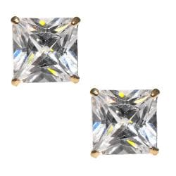 14k Yellow Gold 8 mm Round-cut Cubic Zirconia Stud Earrings