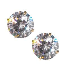 14k Yellow Gold Round-cut Cubic Zirconia Stud Earrings