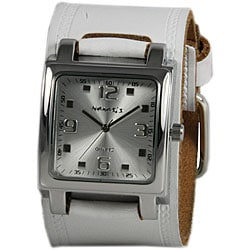 Nemesis Women's Silver Lite SQ Leather Cuff Watch