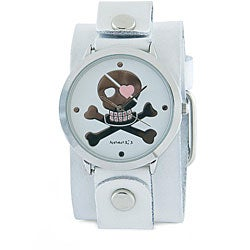 Nemesis Women's Black Skull White Leather Band Watch