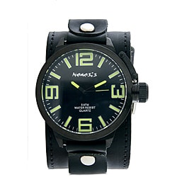 Nemesis Men's Oversized Black Leather Band Watch