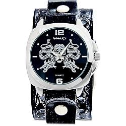 Nemesis Men's Black Snake Skull Leather Band Watch