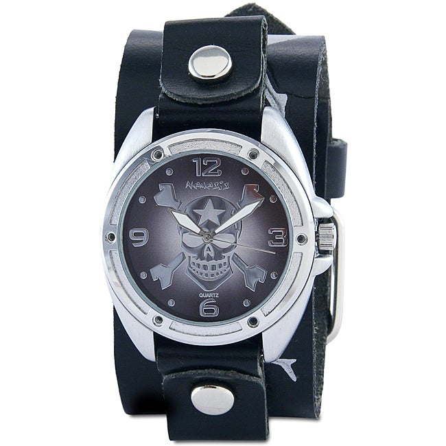 Nemesis Men's Skull and Crossbones Leather Band Watch