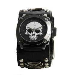 Nemesis Men's Black Heavy Duty Skull Watch