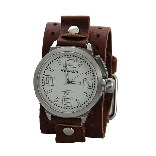 nemesis s oversized brown leather band