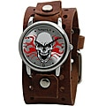 Nemesis Men's Silvertone Fire Skull Cuff Watch