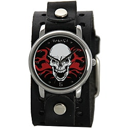 Nemesis Men's Black Fire Skull Cuff Watch