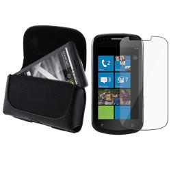 Black Leather Case/ Screen Protector for Samsung i917 Focus