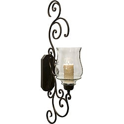 Iron and Glass Provence Grandame Scrollwork Candle Sconce