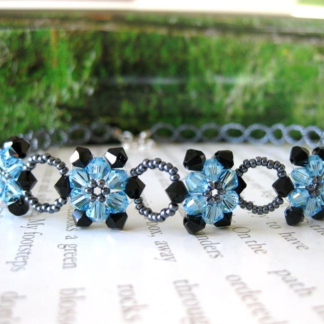 Handmade Blue Crystal Sunflower Choker