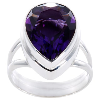 Sterling Silver Faceted Amethyst Almond Drop Ring (Indonesia)