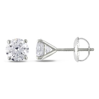 Miadora 14k White Gold 1 1/2ct TDW Certified Diamond Stud Earrings (H-I, SI1-SI2)