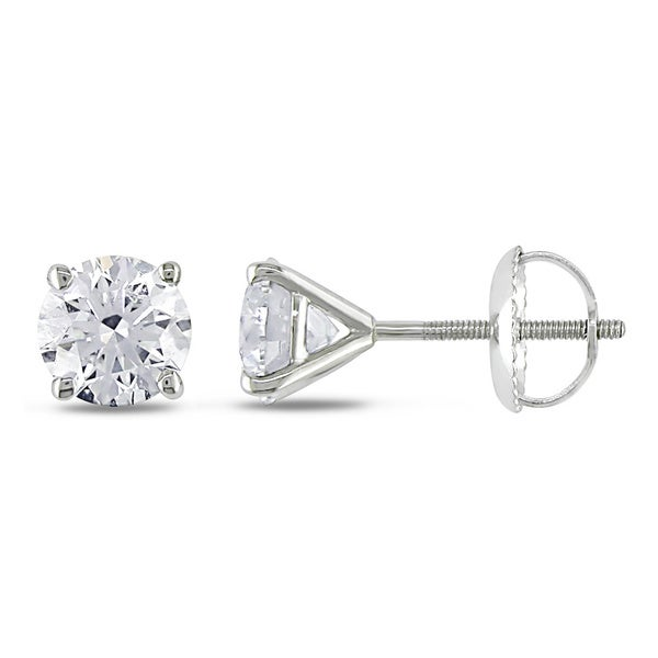 Miadora Signature Collection 14k White Gold 1 1/2ct TDW Certified Diamond Stud Earrings (H-I, SI1-SI2)