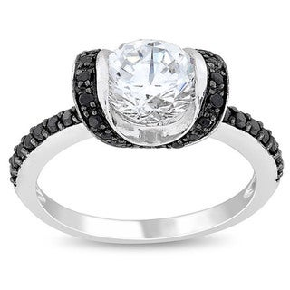 Miadora Sterling Silver White and Black Cubic Zirconia Engagement-style Ring with Bonus Earrings