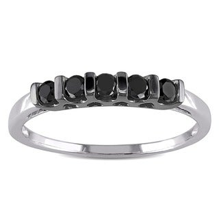 M by Miadora Sterling Silver 1/4ct TDW Black Round Diamond Ring with Bonus Earrings