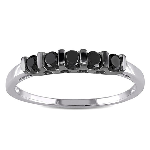 Haylee Jewels Sterling Silver 1/4ct TDW Black Round Diamond Ring