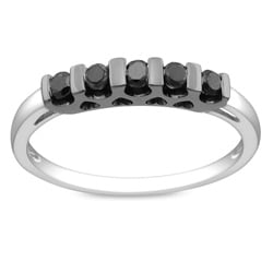 M by Miadora Sterling Silver 1/4ct TDW Black Round Diamond Ring