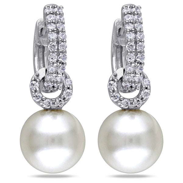 M by Miadora Sterling Silver White Freshwater Pearl and Cubic Zirconia Earrings
