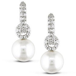 Miadora Sterling Silver White Freshwater Pearl and Cubic Zirconia Earrings